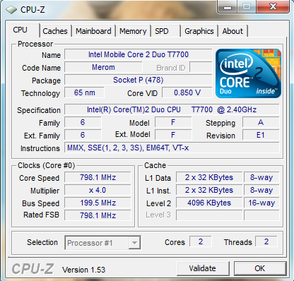 Processor T7700 2,4 Ghz