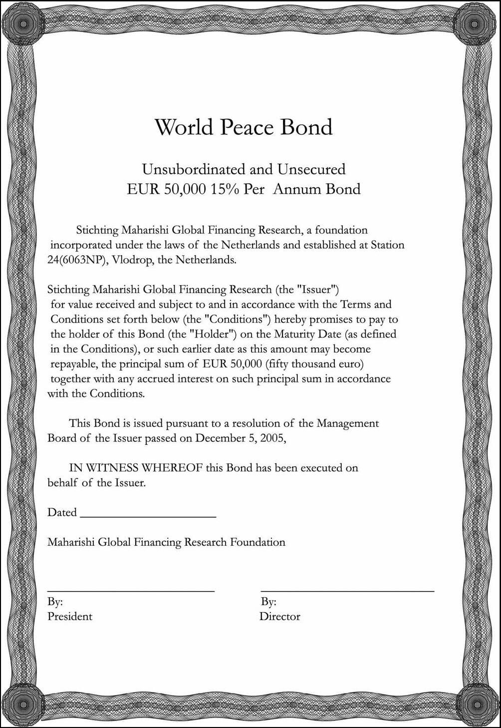 Contoh Surat Obligasi, Sertifikat Obligasi, Bond Certificate
